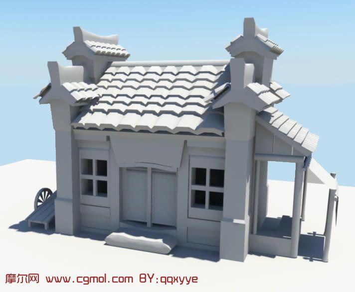 房屋 房子 民房 中式建筑maya模型高清图片