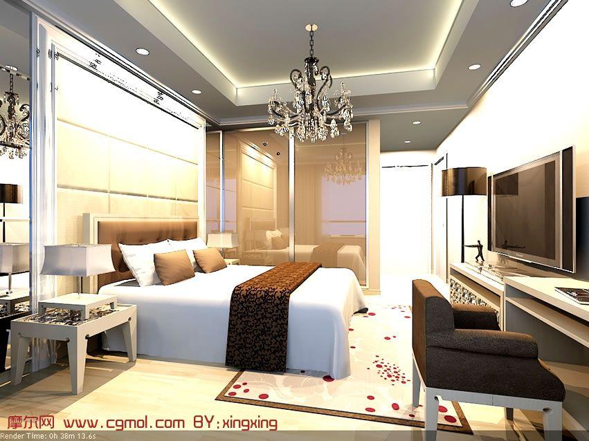 现代时尚卧室设计3D模型