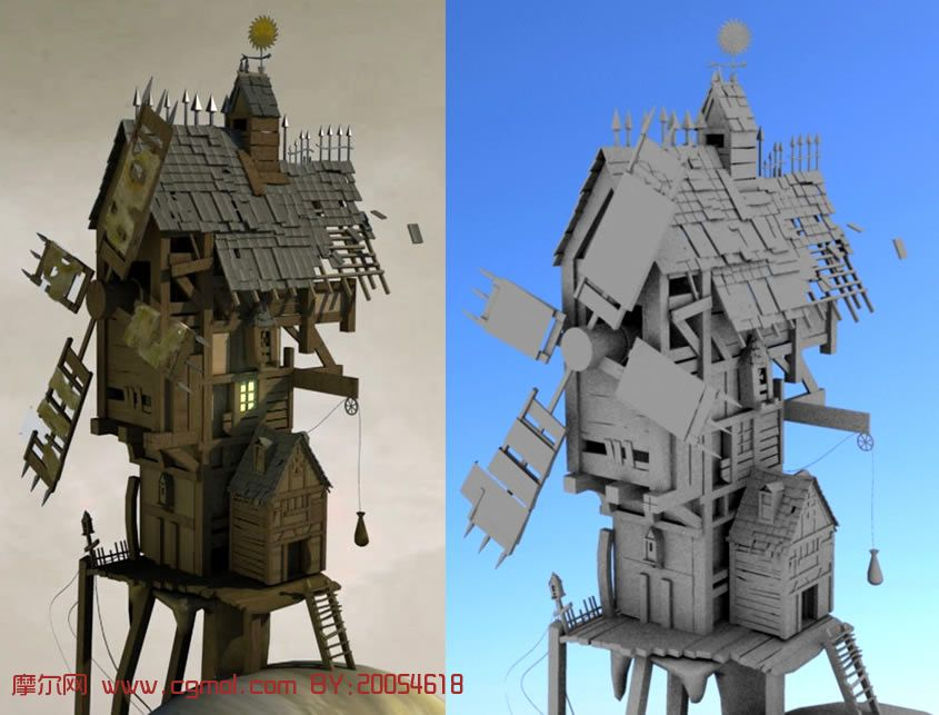 仿造设计的一个风车房子maya模型,其他建筑,建高清图片