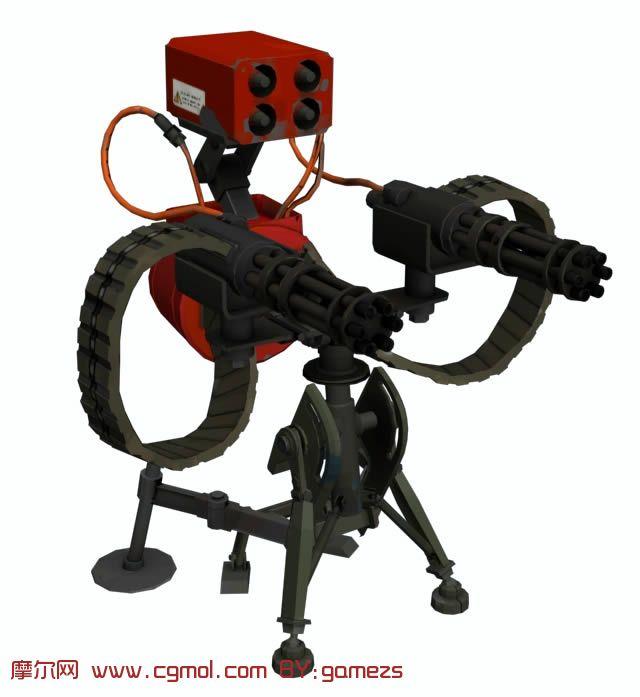 次时代游戏军团要塞2中的哨卡机枪,重型机枪3D模型