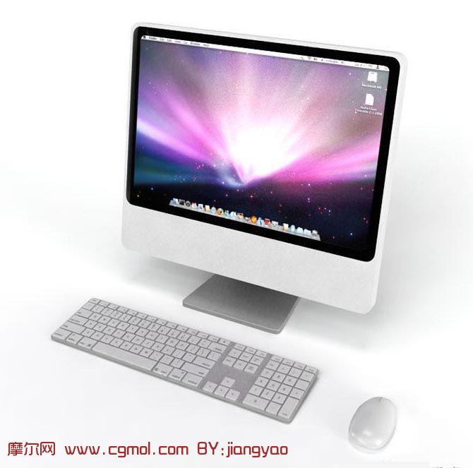 苹果一体机,显示器,鼠标,键盘3d模型