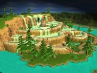 温泉,瀑布,森林,3D场景模型