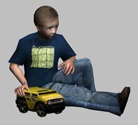 坐着玩耍的小男孩3d模型