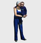 抱着小孩的女人3d模型