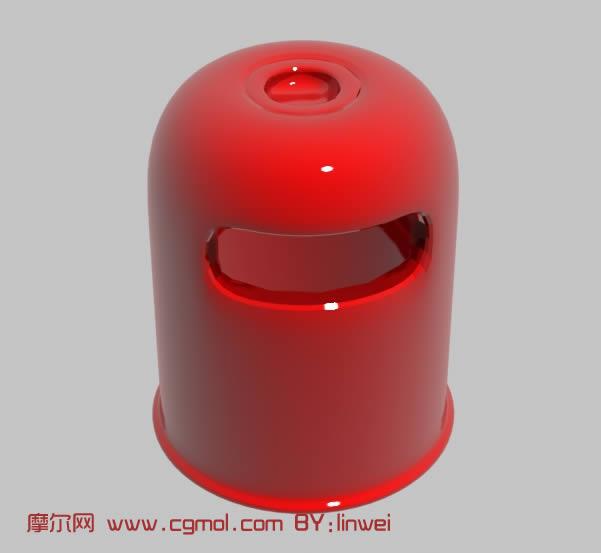 红色垃圾桶3d模型,基础设施