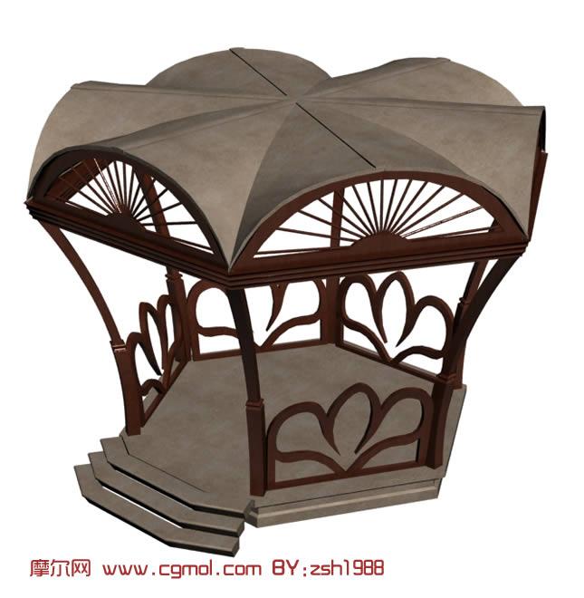 木雕凉亭3d模型
