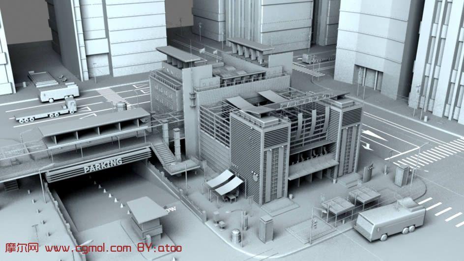 现代繁华市区场景maya模型 高清图片