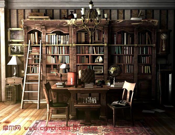 高精细书房maya模型 材质贴图全 ,整体效果,室高清图片