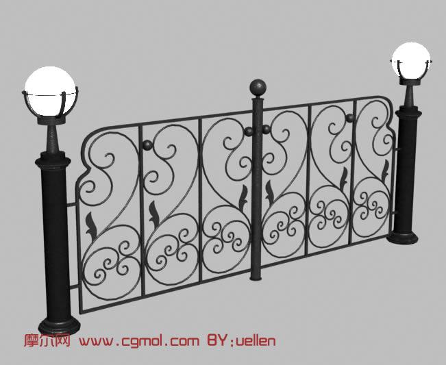铁栅栏,防护栏,铁门,园林小品3d模型
