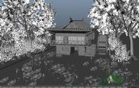 荷塘,荷花,荷叶,柳树,水车,maya自然风景模型