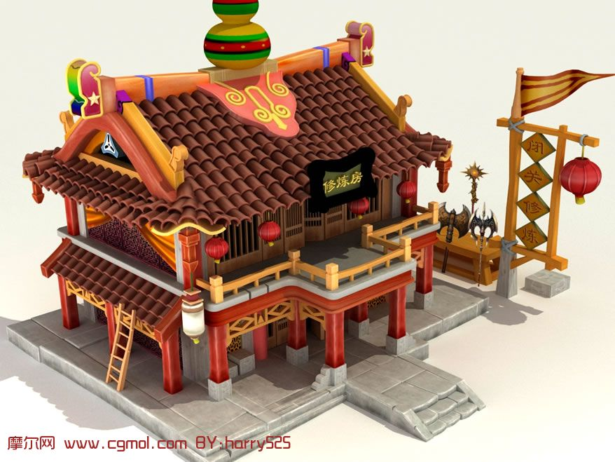盘龙柱,龙腾柱3d模型; 游戏建筑场景; q版修炼房,3d游戏建筑模型