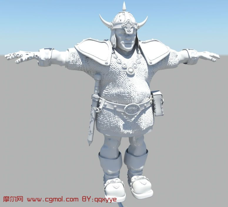 带着头盔的 老年 战士,maya 人物 模型,历史角色, 高清图片