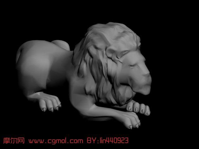 狮子雕塑3d模型,哺乳动物,动物模型,3d模型免费下载