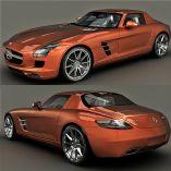超级跑车奔驰SLS AMG,3d汽车模型