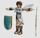 配有盾牌,双刃剑的男孩天使,3d卡通人物模型