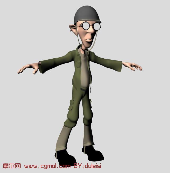 带眼镜的老人士兵 maya卡通人物模型 高清图片