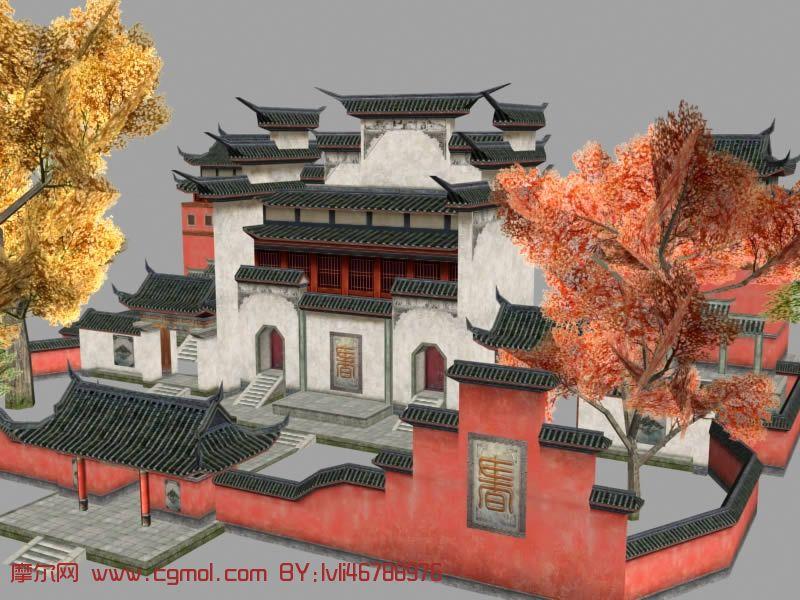古代书院,寺庙,庙宇,3d古代建筑模型