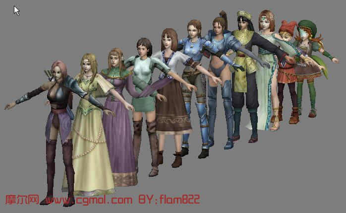女性角色全集,3d动画角色模型