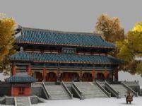 大雄宝殿,寺庙,3d游戏建筑模型