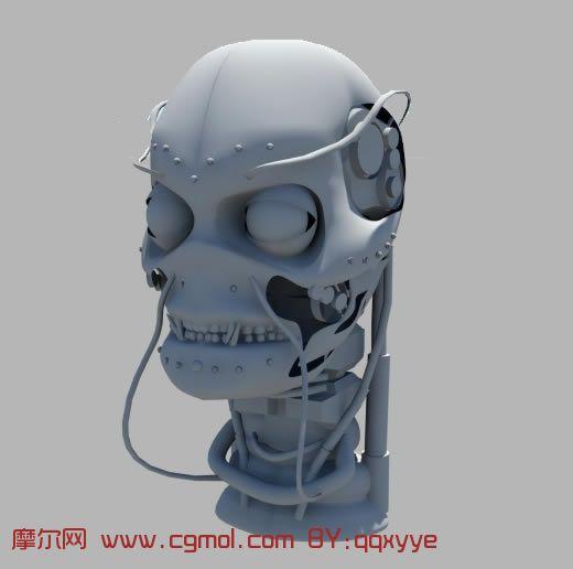终结者头部,机器人头部maya模型高清图片