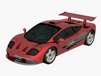 红色跑车,3d汽车模型