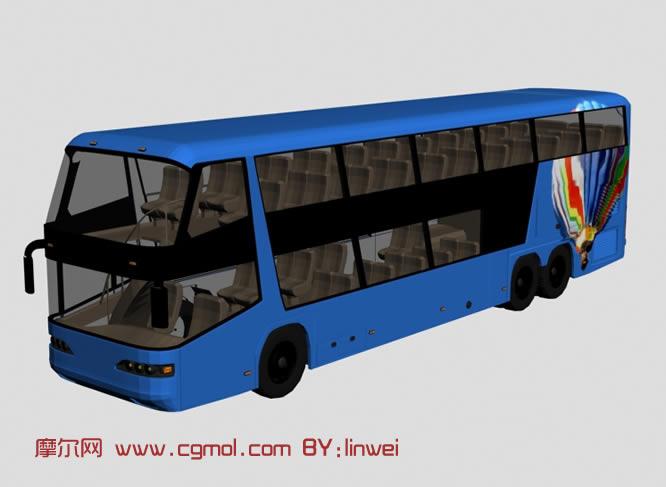 公交车,双层巴士,大巴3d模型