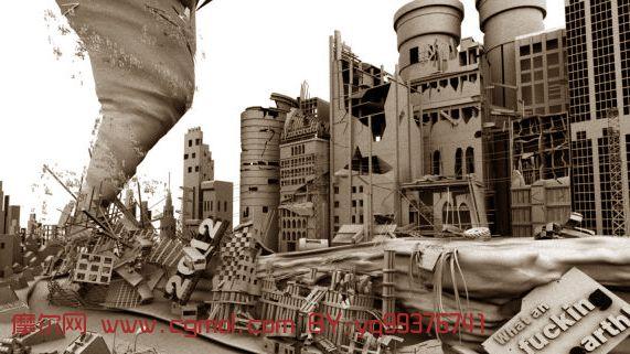 2012世界末日场景,废墟maya模型