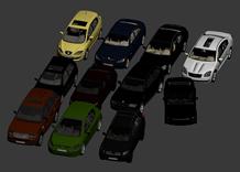 停车场上的多款汽车3d模型