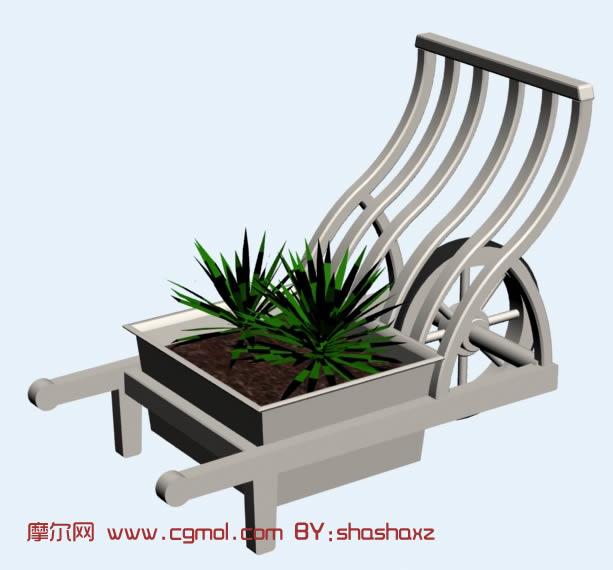 可推动的植物种植车3d模型