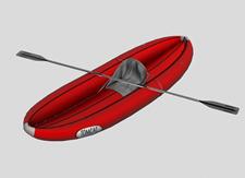 单人皮划艇3d模型