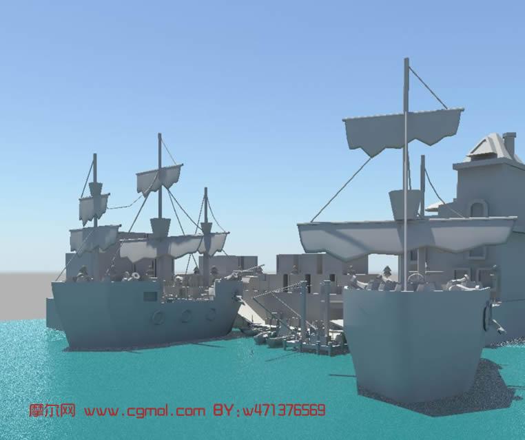 简单的港口maya模型 现代场景 场景模型高清图片