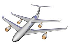 双翼大型客机,飞机3d模型