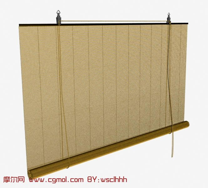 竹子做的卷帘,窗帘3d模型