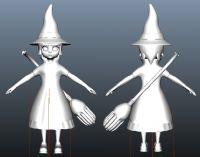 背着扫帚的小女魔法师,maya卡通角色模型