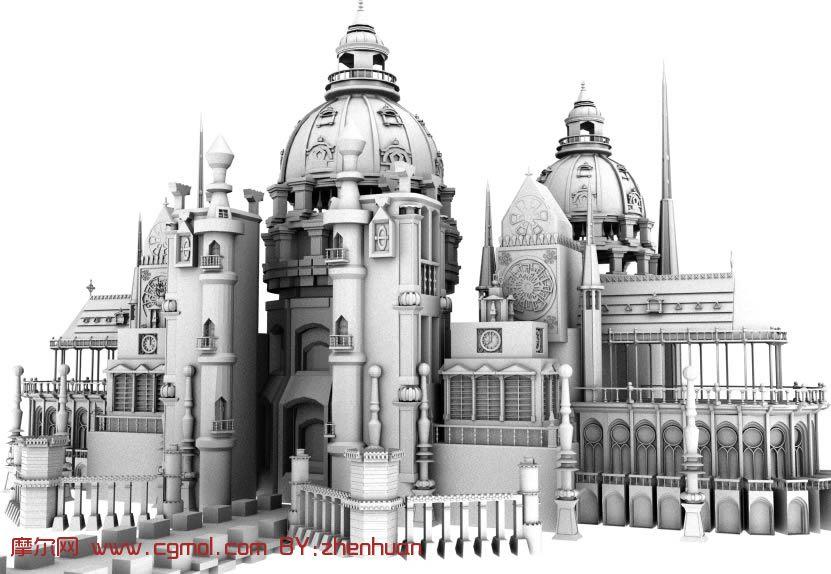 欧式圆顶城堡建筑maya模型 高清图片