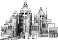 超漂亮的欧式圆顶城堡建筑maya模型