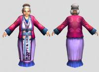 一款游戏中的奶奶NPC角色模型(带骨骼,三套动作)