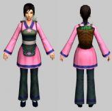 村姑,游戏NPC角色3D模型(带骨骼,三套动作)