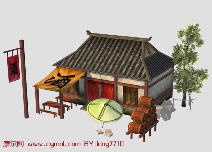 酒馆,3d游戏古代建筑模.; 古代建筑3d模型; 3d建筑模型