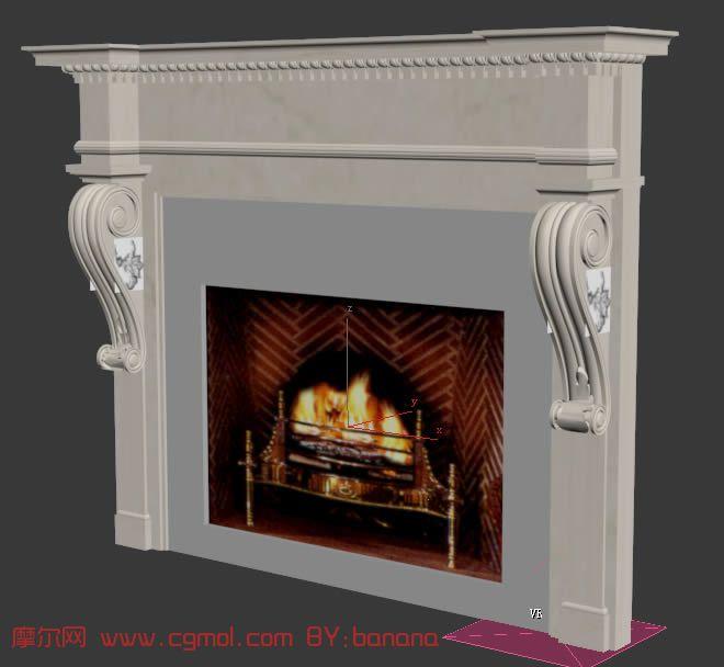 欧式古典壁炉3d模型,室内家具