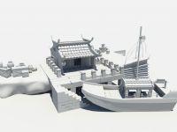 古代的码头.港口,maya场景模型
