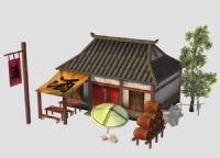 酒馆,3D游戏古代建筑模型