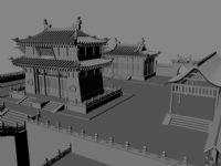 中式古代建筑,建筑群3D模型