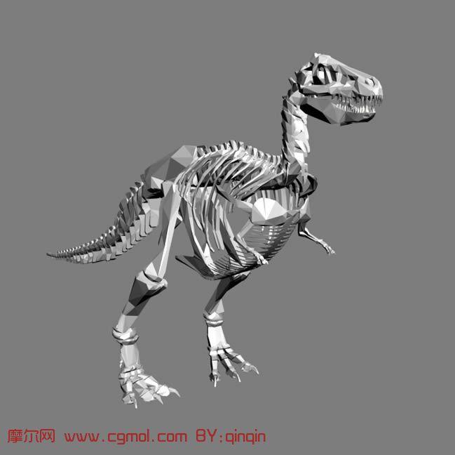 霸王龙骨架3d模型_爬行动物_动物模型_3d模型免费下载_摩尔网