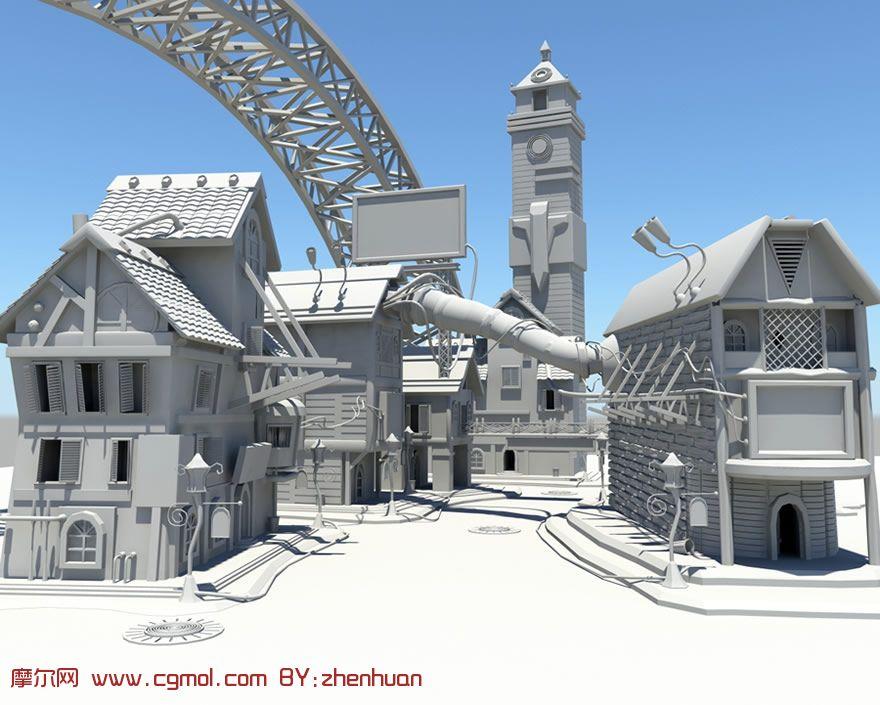 大型场景建筑maya模型,国外建筑,建筑模型,3d模型 高清图片