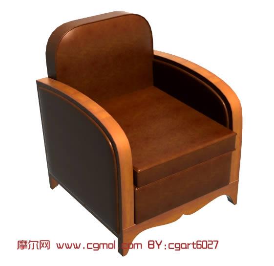 木制扶手沙发椅3d模型