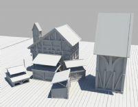 几个小木房,房子,房屋,屋子maya模型