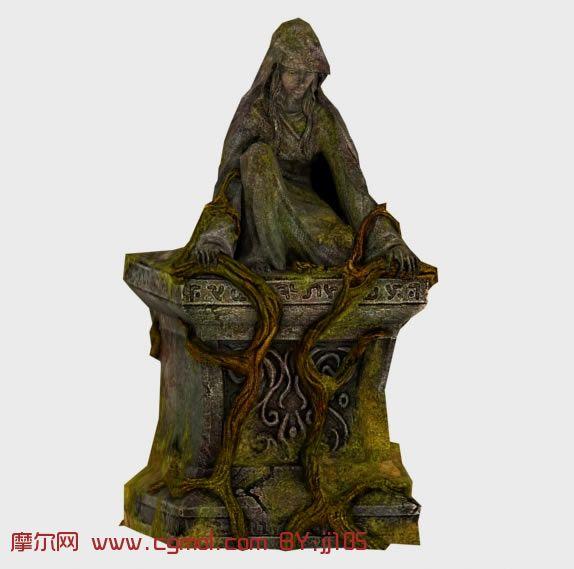长满树藤的女人石像3D模型