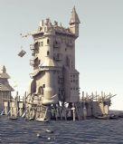 海边房屋,海边港口,maya建筑场景模型