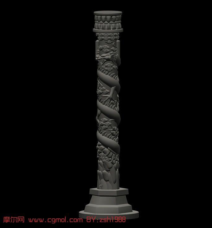 盘龙柱,龙腾柱3D模型
